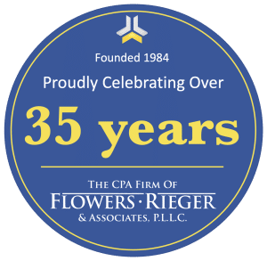 Over 35 Years Logo, Flowers Rieger, Tucson CPA Firm, Accounting, Bookkeeping, and Tax Preparation, www.flowersrieger.com